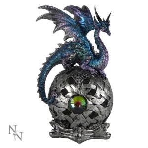 "Dragon~ Blue and Lilac LED Light Up Dragon Figurine ""Eye of Xanthor""~ By Folio Gothic Hippy U0360B4"